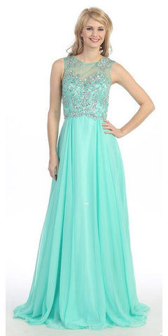 Sleeveless Long Studded A Line Meshed Yoke Mint Prom Dress