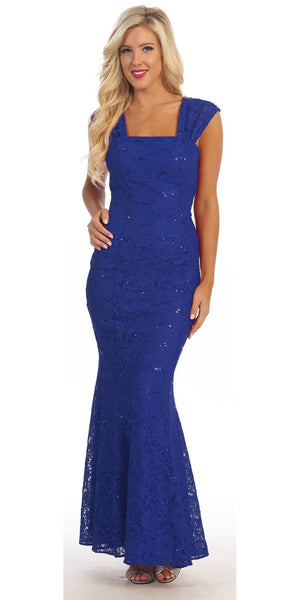 Long Lace Mermaid Dress Royal Blue Wide Straps Open Back