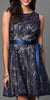 Sleeveless Short Lace Dress in Navy Gold with Bow Sequin Detail