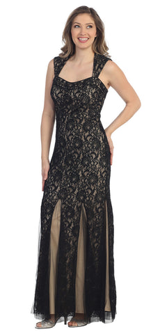 Sleeveless Sweetheart Neck Black Gold Mermaid Evening Gown