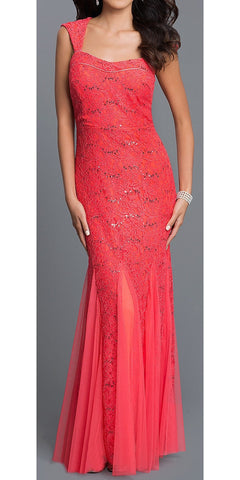 Sleeveless Sweetheart Neck Coral Mermaid Evening Gown