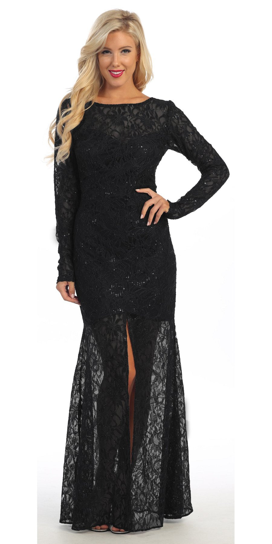 Long Lace Semi Formal Gown Navy Blue Long Sleeve Illusion Skirt
