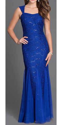 Sleeveless Sweetheart Neck Royal Blue Mermaid Evening Gown