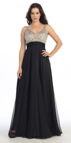 Sleeveless V Neck Studded Long Black Formal A Line Gown