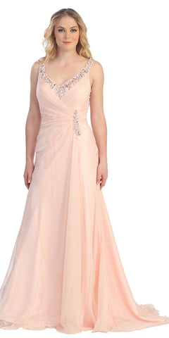 Elegant Floor Length Peach A Line Prom Gown Wide Strap Illusion Back
