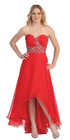 Elegant High Low Red Prom Gown Multi Layer Skirt Strapless W/Jewels