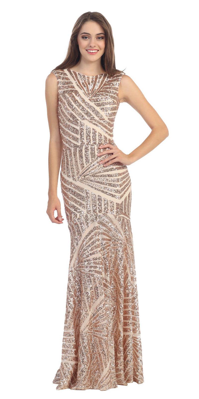 Sparkling Sequin Gown Gold Long Sheath Open Slit Back