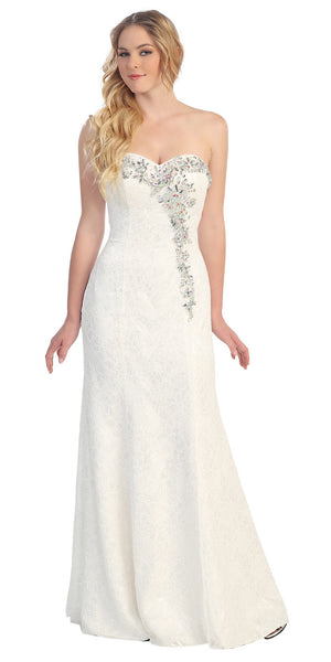Elegant White Lace Formal Gown Sweetheart Strapless Floor Length