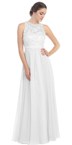 Empire Waist Chiffon Evening Gown Off White A Line Full Length
