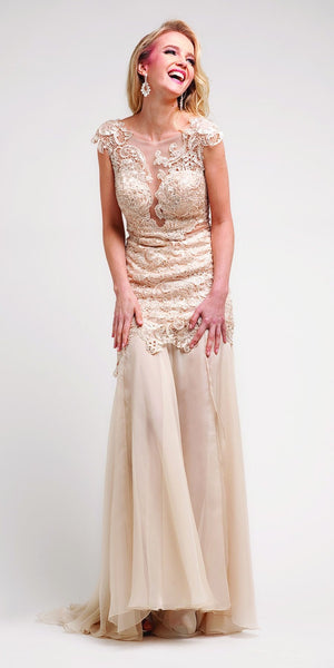 Flared Cap Sleeves Lace Red Carpet Champagne Mermaid Gown