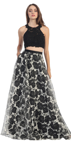 Floor Length 2 Piece Lace Top Dress Black Black Lining Flower Print