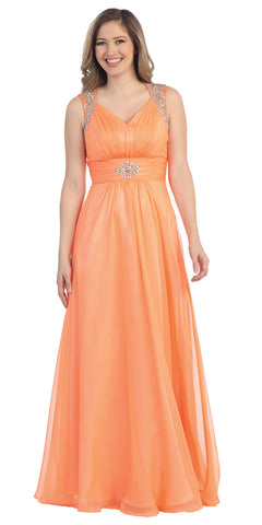 Floor Length A Line Orange Prom Dress Empire See Through Illusion Back