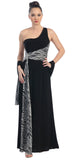 One Shoulder Black Zebra Formal Gown Long Animal Print