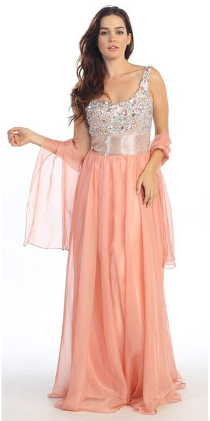 One Shoulder Corset Bodice A Line Coral Long Ball Gown