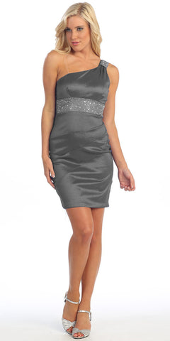 One Shoulder Dark Silver Cocktail Dress Above Knee Stretch Taffeta