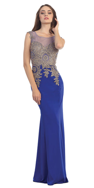 Floor Length Jersey Prom Gown Sleeveless Royal Blue Embroidery