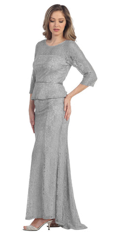 Floor Length Meshed Yoke Silver Peplum Bodice Formal Dress