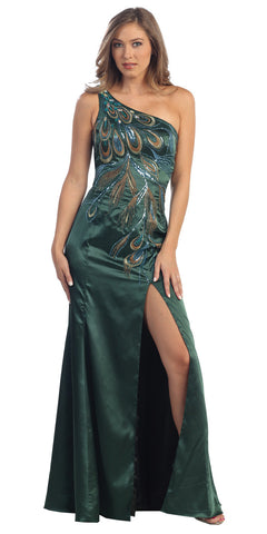 One Shoulder Green Peacock Embroidered Dress Long Open Front Slit