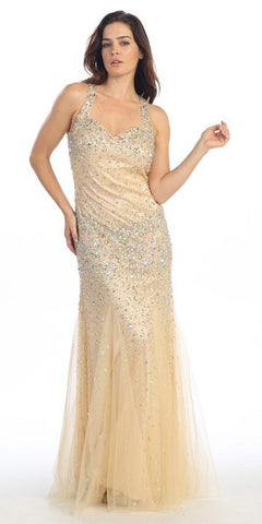 Floor Length Studded Sleeveless Gold Pageant Dress