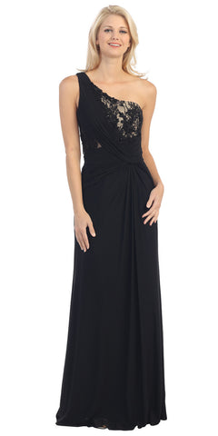 One Shoulder Lace Bodice Ruched Waist Black Nude Formal Gown