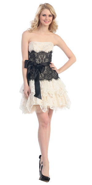 Strapless Bubble Lace Mesh Dress Ivory Black Short Two Tone