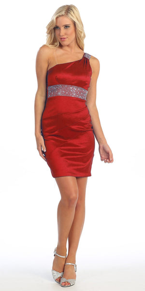 One Shoulder Red Cocktail Dress Above Knee Stretch Taffeta