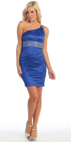 One Shoulder Royal Blue Cocktail Dress Above Knee Stretch Taffeta