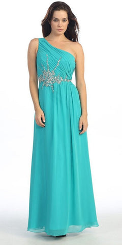 One Shoulder Ruched Chiffon Jade Long Prom Dress