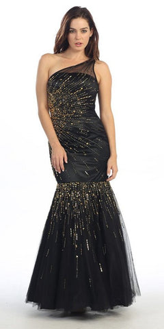 One Shoulder Sequined Long Black Gold Mermaid Prom Dress