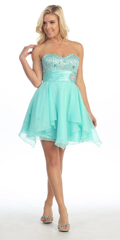 Formal Aqua Homecoming Dress A Line Sweetheart Organza Empire