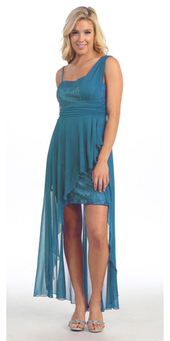 One Shoulder Spaghetti Strap Teal High Low Dress Chiffon