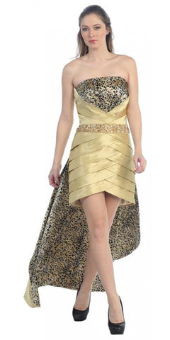 Strapless High Low Gold Cheetah Animal Print Dress Pleated Skirt