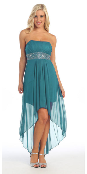 Strapless High Low Jade Bridesmaid Dress Flowy Chiffon Empire
