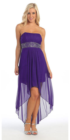 Strapless High Low Lavender Bridesmaid Dress Flowy Chiffon Empire