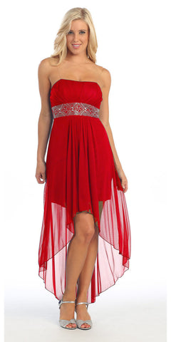 Chiffon High Low Coral Dress Strapless Rhinestone Center