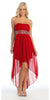 Strapless High Low Red Bridesmaid Dress Flowy Chiffon Empire
