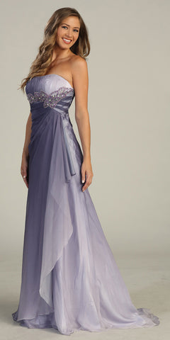 ON SPECIAL - LIMITED STOCK - Strapless Long Purple Ombre Formal Dress Empire