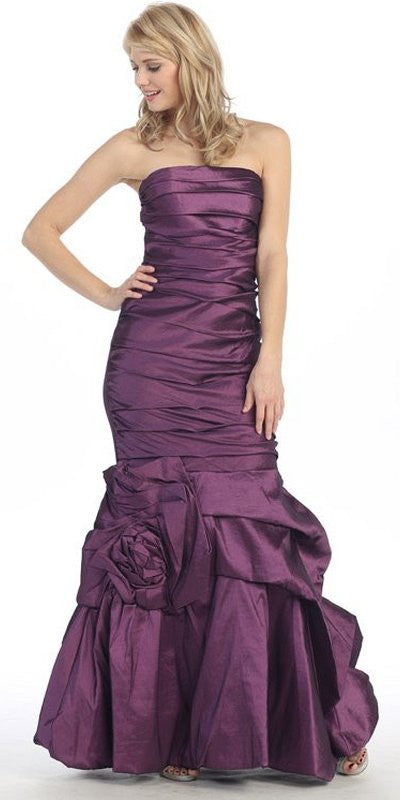 Strapless Long Ruched Torso Plum Trumpet Party Gown