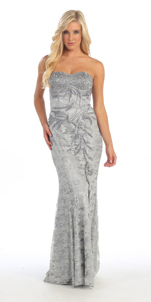 Red Carpet Silver Celebrity Lace Formal Gown Long Strapless Beads
