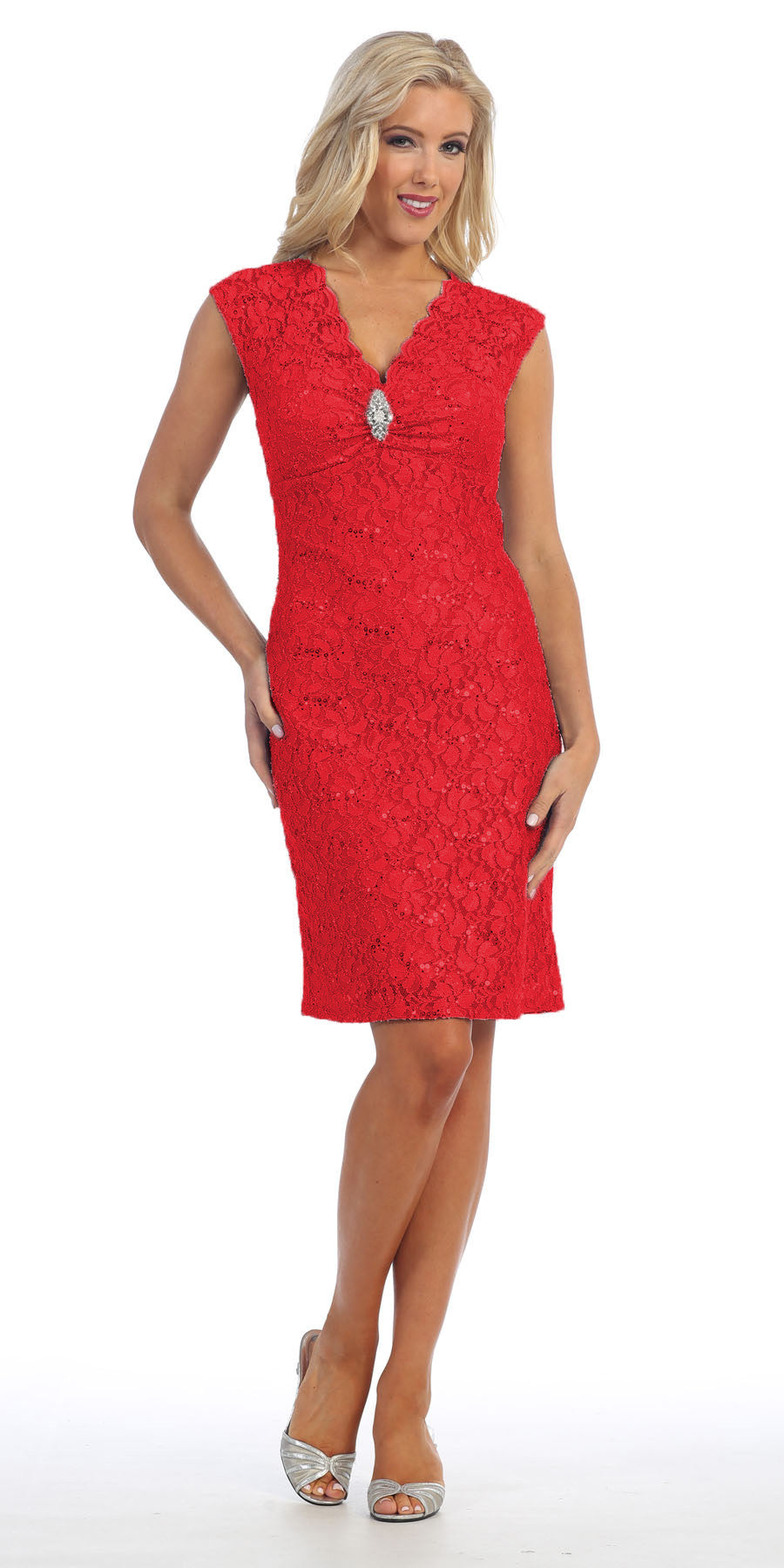 Red Cocktail Lace Dress Knee Length V Neckline Cap Sleeves