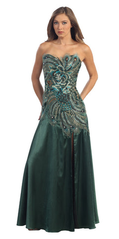 Peacock Design Formal Dress Embroidery Strapless Front Slit
