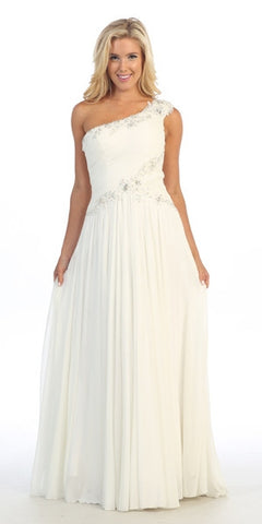 Studded Single Strap Long A Line Off White Formal Gown