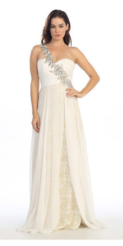 Studded Single Strap Long A Line Off White Prom Gown