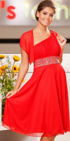 Red Knee Length Cruise Dress chiffon One Shoulder Includes Bolero