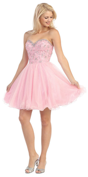 Studded Sweetheart Bodice Pink Short Homecoming Dress