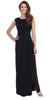 Full Length Black Cocktail Dress Sequin Top Open Front Slit