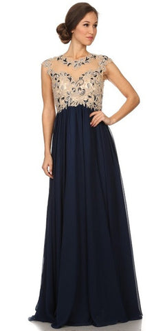 Stunning Cap Sleeve Chiffon Long Dress Navy Blue A Line