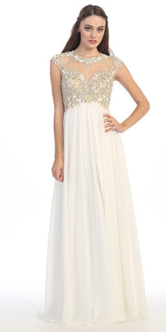 Stunning Cap Sleeve Chiffon Long Dress Off White A Line