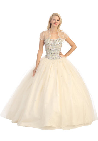 Strapless Studded Bodice Champagne Long Quinceanera Gown