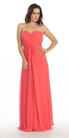 Pleated Strapless Sweetheart Neck Coral Long Column Gown